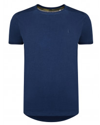 Ringspun Neon Crew Neck Cotton Plain T-shirt Navy | Jean Scene