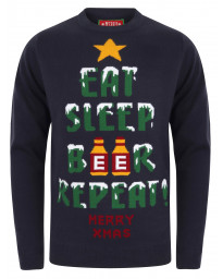 Christmas Jumper Crew Neck Eat Sleep Eclipse Blue | Jean Scene