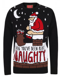 Christmas Jumper Crew Neck Really Naughty Black | Jean Scene