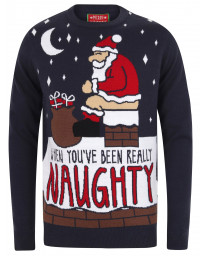 Christmas Jumper Crew Neck Really Naughty Eclipse Blue | Jean Scene