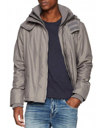 Superdry Arctic Hooded Pop Zip Jacket Grey Marl/Black | Jean Scene