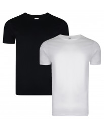 Smith & Jones Basic Crew Neck Cotton Plain T-Shirt 2 Pack Black/White | Jean Scene