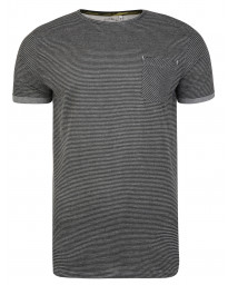 Ringspun Ribble Crew Neck Cotton Stripe T-shirt Charcoal | Jean Scene