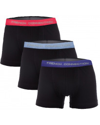 French Connection Men's 3 Pack Boxer Shorts Underwear 3 Pack Black Multi | Jean Scene