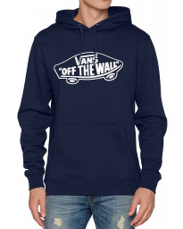 VANS Men's Off The Wall Logo Pullover Hooded Sweatshirt Dress Blues | Jean Scene