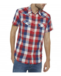 Wrangler Western Men's Short Sleeve Check Shirt Tomato Puree | Jean Scene