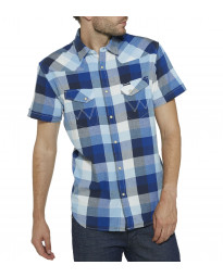 Wrangler Western Men's Short Sleeve Check Shirt True Blue | Jean Scene