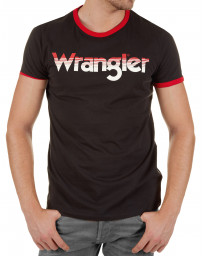 Wrangler Ringer Crew Neck Logo T-shirt Faded Black | Jean Scene