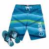 Smith & Jones Swim Beach Shorts & Flip Flop Set Stripe Teal Blue