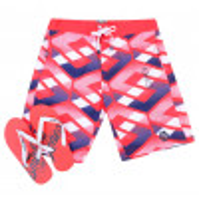 Smith & Jones Beach Swim Shorts & Flip Flop Set Latitude Red