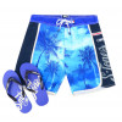 Smith & Jones Beach Swim Shorts & Flip Flop Set Kokomo Blue