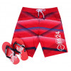 Smith & Jones Swim Beach Shorts & Flip Flop Set Stripe Tango Red