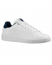 K-Swiss Men's Clean Court CMF Leather Shoes Trainers White   Jean Scene