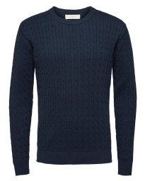 Selected Crew Neck Cotton Clayton Jumper Dark Sapphire | Jean Scene