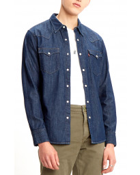Levis Barstow Long Sleeve Denim Men's Shirt Red Cast Rinse | Jean Scene