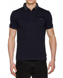 French Connection Print Collared Polo Shirt Marine Blue | Jean Scene