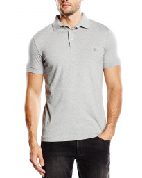 French Connection Basic Sneezy F Polo Pique T-Shirt Grey Melange | Jean Scene