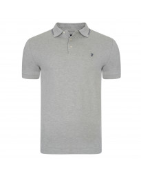 French Connection Simple Cotton F Polo Pique T-Shirt Grey Melange | Jean Scene