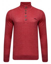 Lee Cooper Button Neck Argarton Knitted Jumper Red