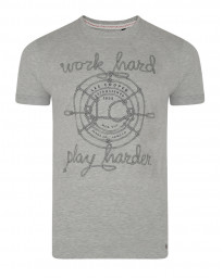 Lee Cooper Farway Crew Neck Cotton Printed T-shirt Grey Marl | Jean Scene