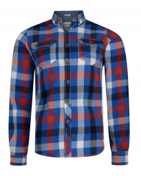 Lee Cooper Men's Long Sleeve Check Shirt True Blue | Jean Scene