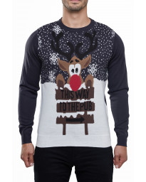 Christmas Jumper Funny Crew Neck This Way to the Pub Cobalt Blue | Jean Scene