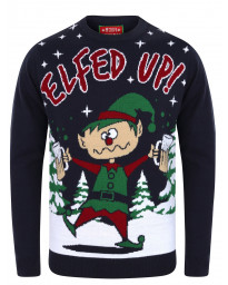 Christmas Jumper Crew Neck Elfed Up Eclipse Blue | Jean Scene