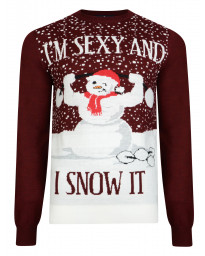 Christmas Jumper Funny Crew Neck Sexy Snowman Warm Burgundy | Jean Scene