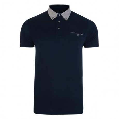 French Connection Check Collar Polo Shirt Shirt Blue