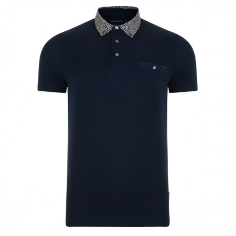 French Connection Floral Collar Polo Shirt Shirt Blue