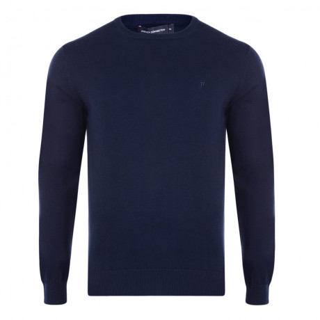 French Connection Crew Neck Cotton Jumper Marine Blue Image