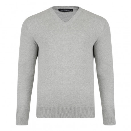 French Connection V-Neck Cotton Jumper Grey Image