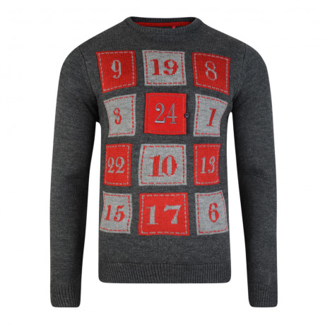 Xmas Novelty Jumper Crew Neck Christmas Knit 3D Advent Calendar Charcoal | Jean Scene