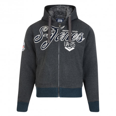 Smith & Jones Men's Borovet Faux Fur Hooded Top Charcoal Marl   Jean Scene