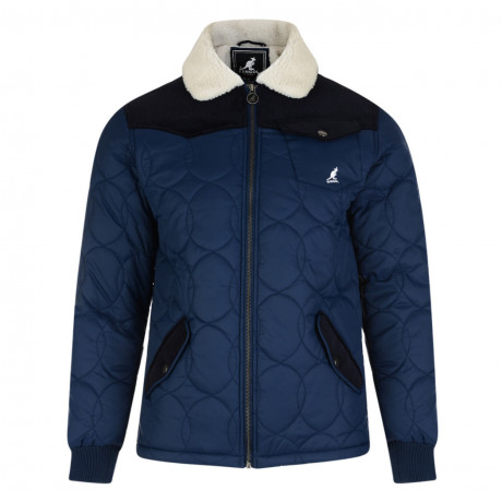 Kangol Sherpa Collar Quilt Padded Jacket Navy Blue