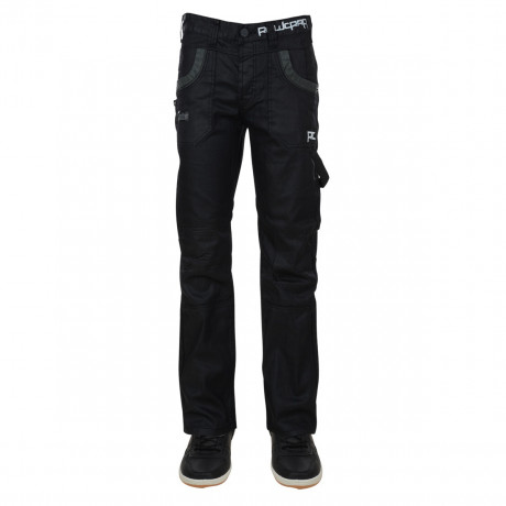 Rawcraft Tapered Fit Cargo Jeans Black Coated Denim Image