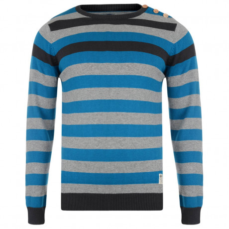 Crosshatch Crew Neck Stripe Jumper Feda Blue Image