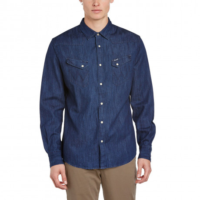 Wrangler Denim Shirt Long Sleeve Western Dark Indigo Blue Image