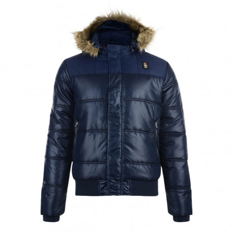 Crosshatch Men's Hantise Faux Fur Shiny Parka Jacket Navy