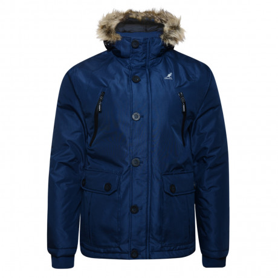 Kangol Ontario Men's Faux Fur Parka Jacket Navy Blue