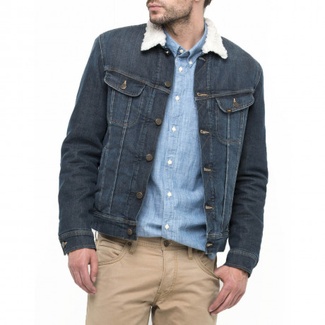 Lee Sherpa Fur Denim Jacket Faded Frost Blue Image