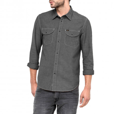 Lee Long Sleeve Cotton Worker Shirt Black Image