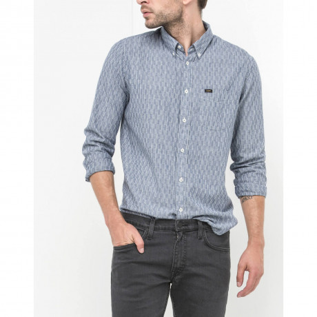 Lee Button Down Long Sleeve Cotton Shirt Washed Blue Image