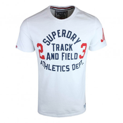 Superdry Crew Neck Print Trackster T-shirt Optic White