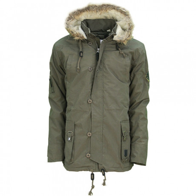 Soul Star Men's Celadon Faux Fur Long Hooded Parka Jacket Military