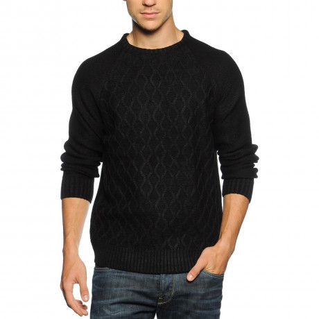 Soul Star Crew Neck Knitted Jumper Black Image