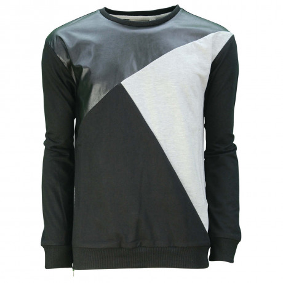 Soul Star Dell Crew Neck Contrast Design Sweatshirt Black