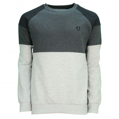 Soul Star Casual Furrow Sweatshirt Grey Melange