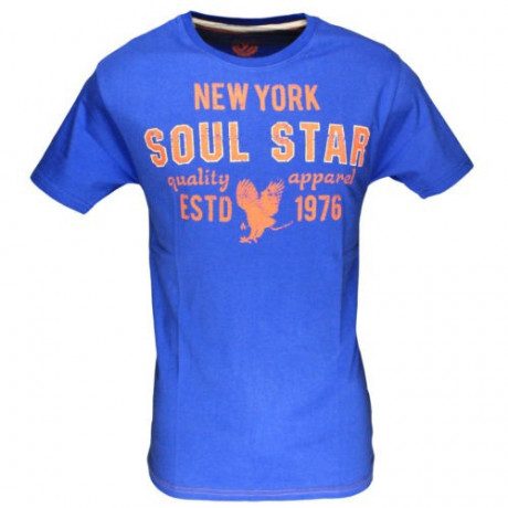 Soul Star New York Print T-shirt Blue Image