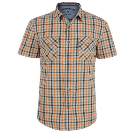 Esprit Slim Fit Short Sleeve Check Shirt Orange